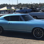 blue 1968 chevelle with black wheels sitting in a parking lot.