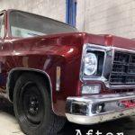 red c10 classic truck in garage