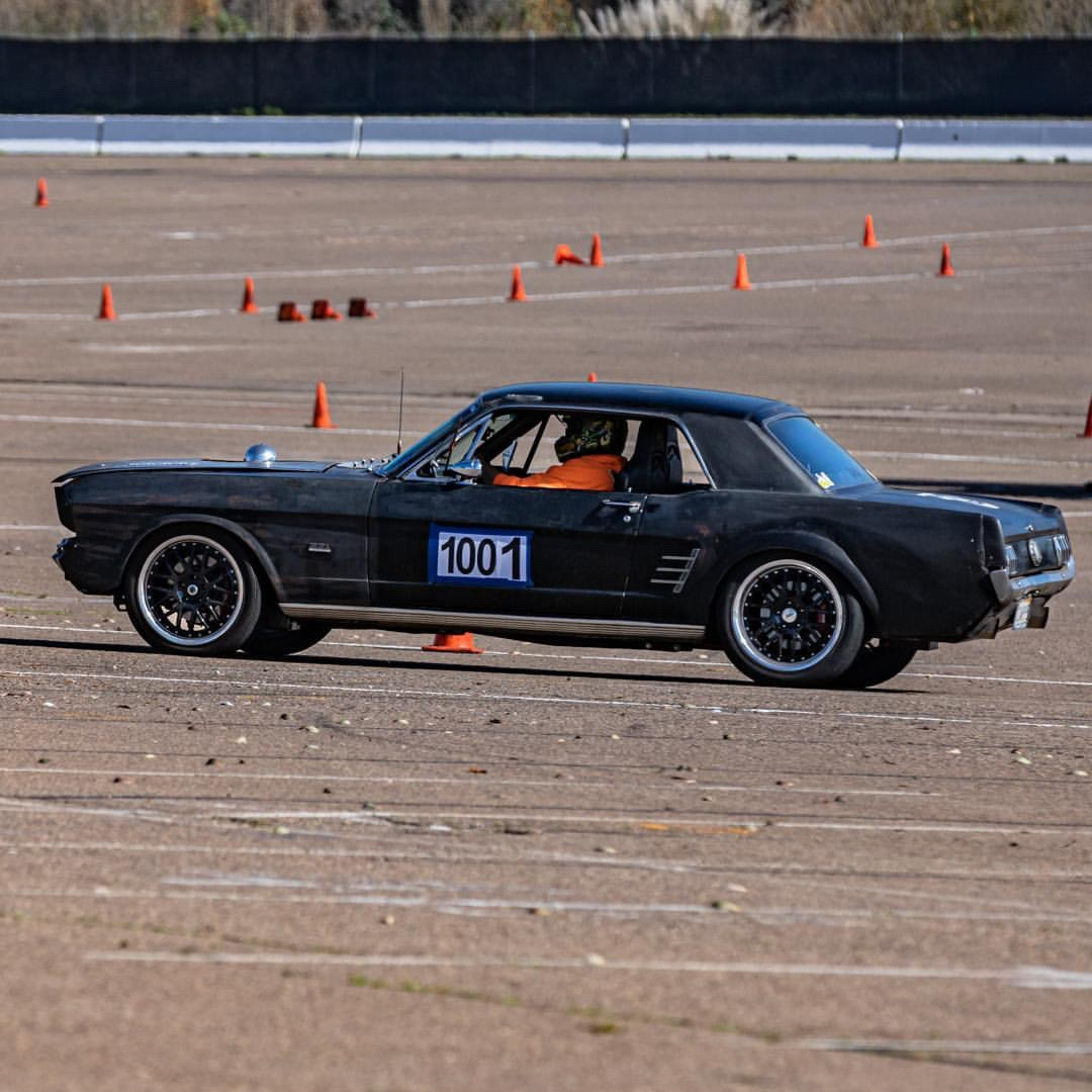 Mustang on autocross track