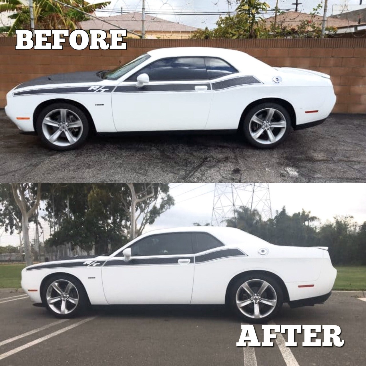 Dodge Challenger before and after lowering spring